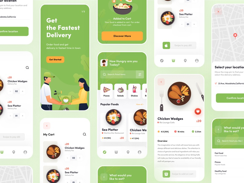 Food Delivery App ux ui search list interface icon graphics food delivery concept cart button burger app