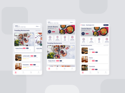 Food App Home Page Screens