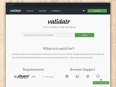 [WIP] validatr.js project homepage validator jquery download javascript browser web homepage web design