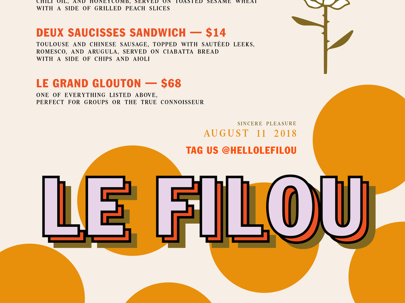 Le Filou –August 11 Menu typography logo menu menu design pop-up restaurant branding graphic design le filou