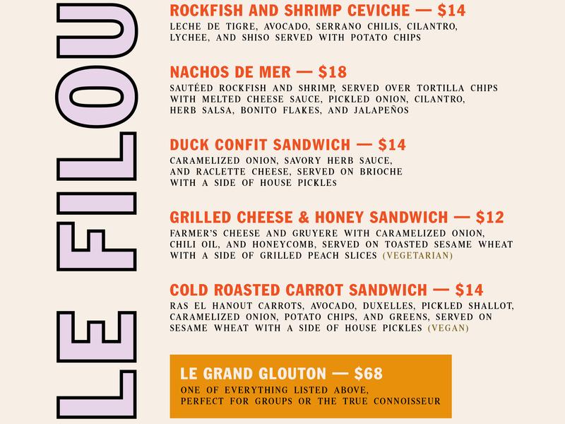 Le Filou – August 18 Menu menu design menu graphic design branding pop-up restaurant le filou