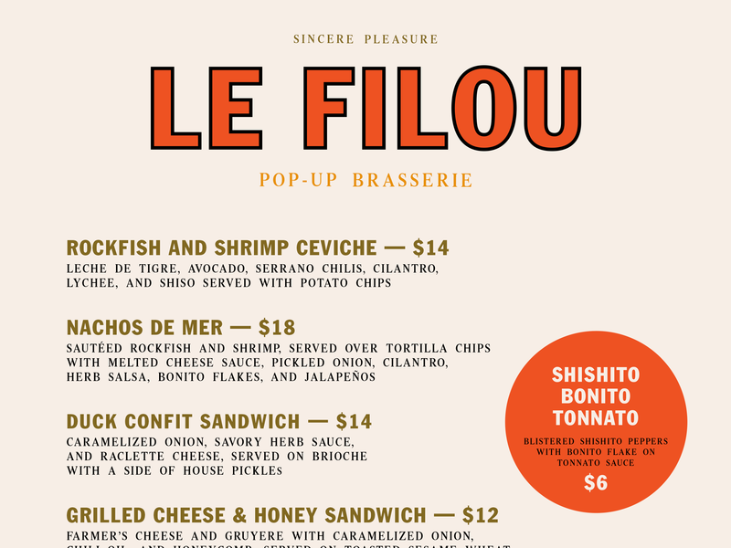 Le Filou –  August 25 Menu typography menu design menu graphic design branding pop-up restaurant le filou