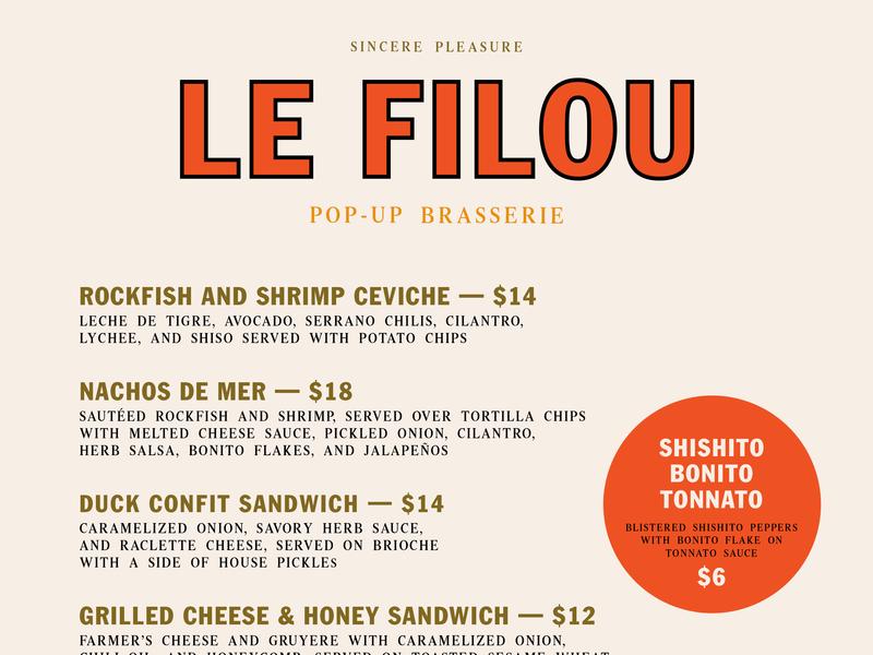 Le Filou –  August 25 Menu typography menu design menu graphic design branding pop-up restaurant le filou