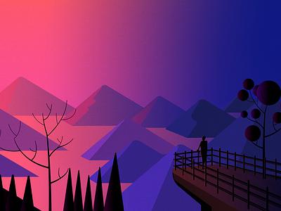 Nature illustration designer dream gradient illustrator illustration