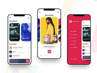 Music App Design xd adobe design ui portfolio rapidgems studio rapidgems mobile ui minimal musicapp music iphone x mobile adobexd clean uiux designer interaction design
