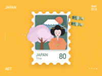 A stamp about Japan paper stamp japan illustrations design collocation card