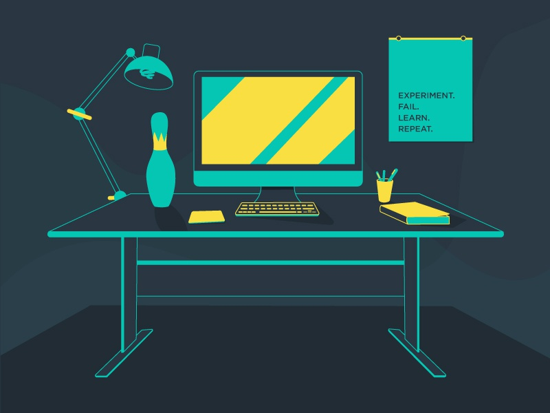 My Desk blue yellow teal ikea bowling pin office workspace imac desk