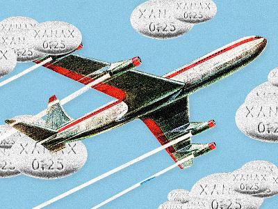 Flight anxiety illustration xanax clouds airplane flight anxiety illustration longreads