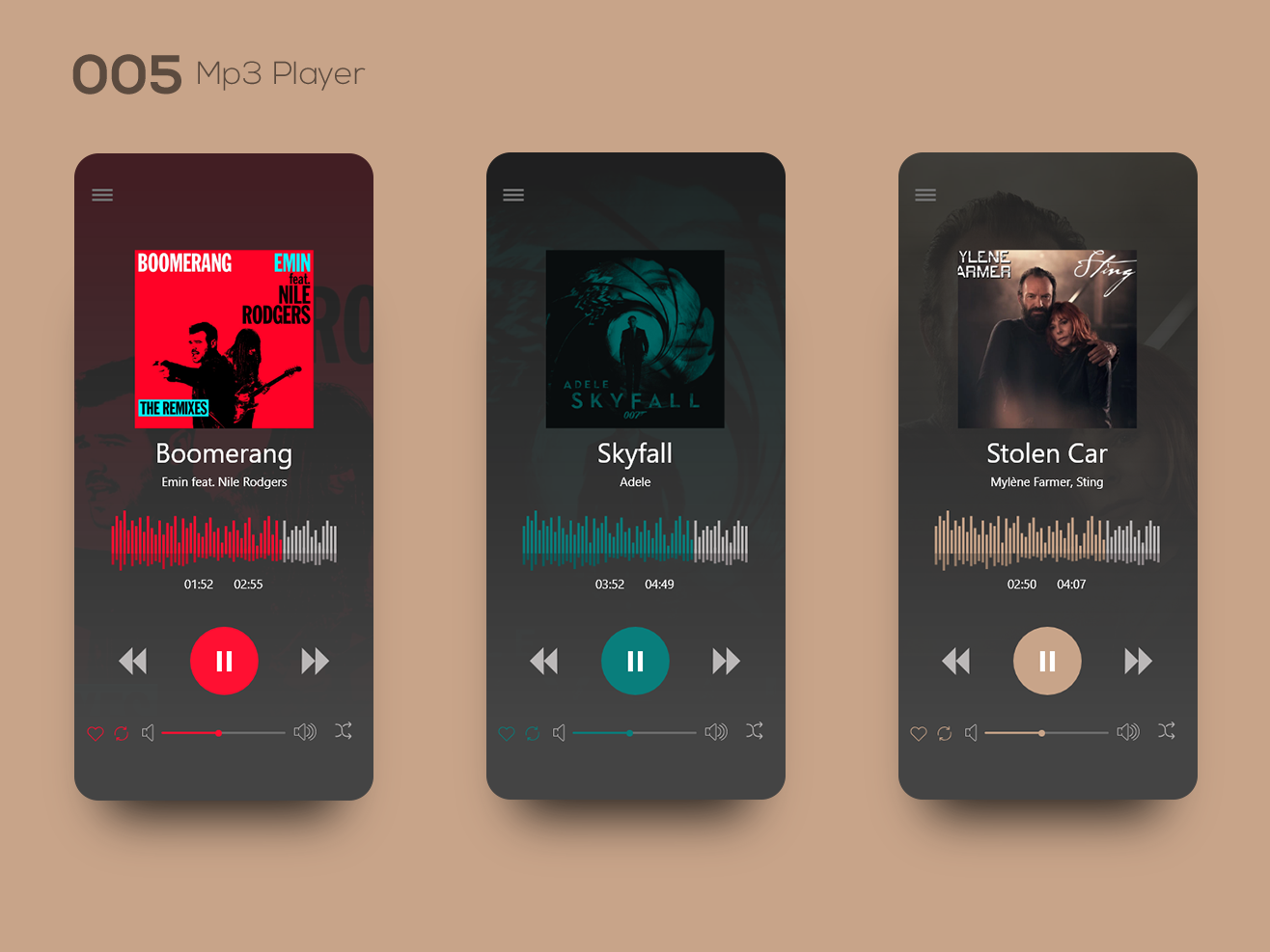 Daily UI 005 — Mp3 Player mp3 sting adele uiinspirations uiinspiration inspiration uxdesign ui design uidesign ui  ux uiux ux ui musicplayer mp3 player
