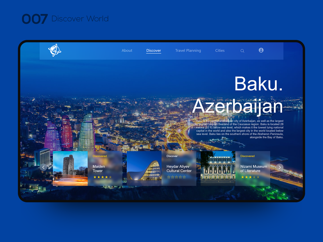 Daily UI 007 — Discover World interaction interface ui inspiration ui interaction ui interface uxui website design web design webdesign website web tour world ui design uidesign uiux ui