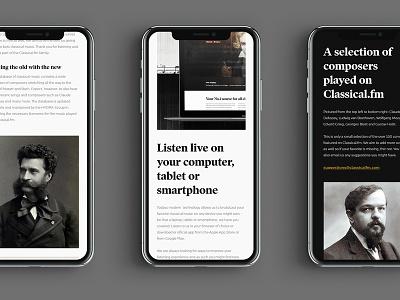 Classical.FM branding responsive mobile iphone x desktop design webpage design app concept typography ui
