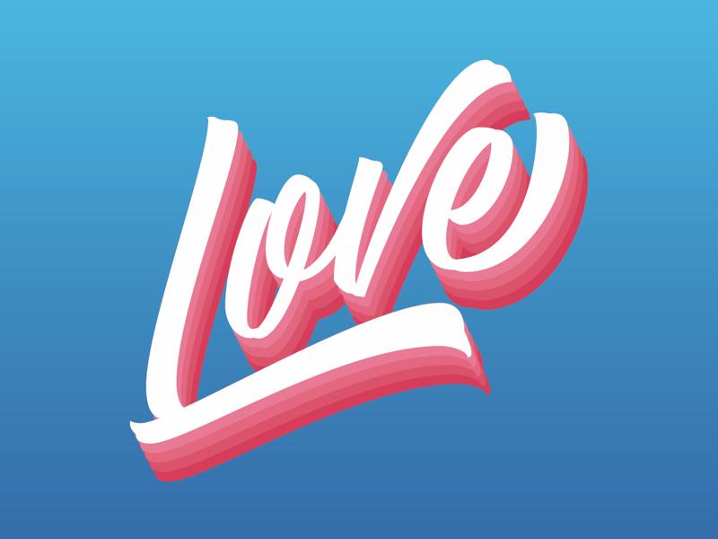 Love love digital art illustration lettering