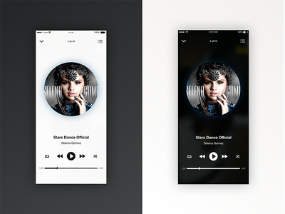 Monochrome themed Music Player black and white media player clean entertainment song music app mobile