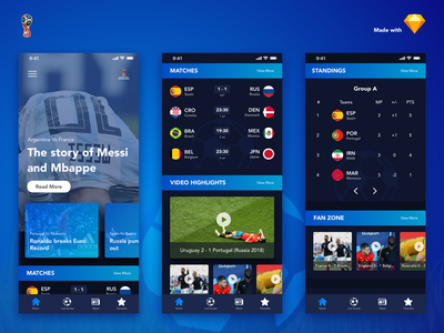 FIFA World Cup 2018 App Redesign clean ui messi worldcup ronaldo redesign app android football sports
