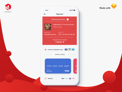 MovieTim - Ticket Booking Payment Process UI card payment checkout red ticket movie clean branding flat app ui
