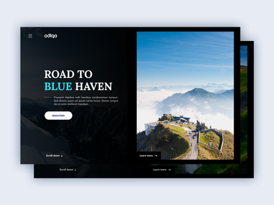 Nature Landing Page invision invisionstudio animation indian uiuxdesigner gowthamk clean waterfalls mountain nature landing page website ui