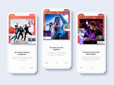Meetups App Onboarding Steps