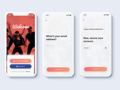 Simple Sign Up Flow - Meetups App sketch gowthamk onboarding ui app happy simple minimal app email password event app meetups sign up screen signup page signup login log in sign up page sign up clean