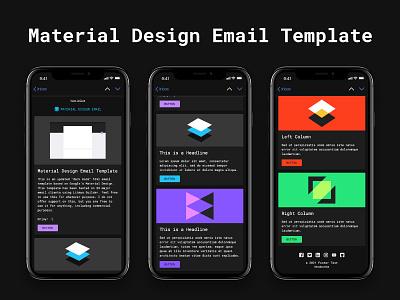Material Design Dark Mode - Free HTML Email Template email design web design graphic design email marketing