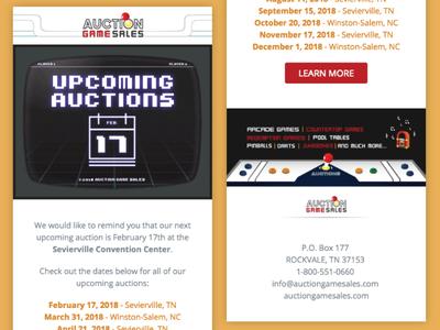 Email Design & Development - Auction Game Sales email marketing graphic design web design email design
