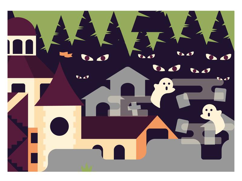 Part of my illustration for a new brewery. dark trees ghost church haunted graveyard digitalart artwork beer branding vector beer branding vector illustration brewery illustration design graphic design