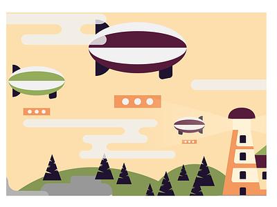 Airships clouds trees digitalart brewery lighthouse airship artwork vector branding beer branding vector illustration illustration design graphic design