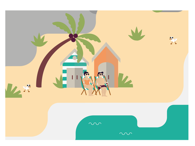 Two Sheds ocean seagull beach shed palm trees sea beach digitalart beer branding artwork beer vector illustration line drawing design brewery illustration graphic design