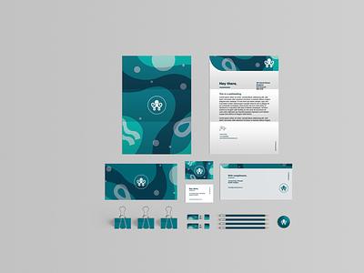 Self branding project stationery musicnotes blues waves ocean complimentslip businesscard symbol logo letterhead design branding graphic design illustration