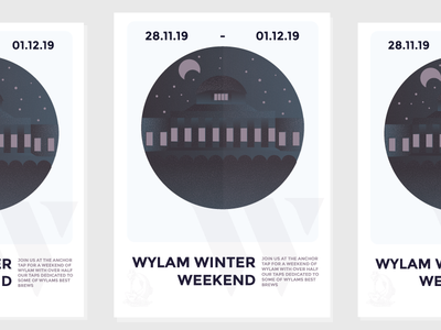 Wylam Winter Weekend Poster editorial festivalposter brewery beerfestival beer line drawing illustration design graphic design