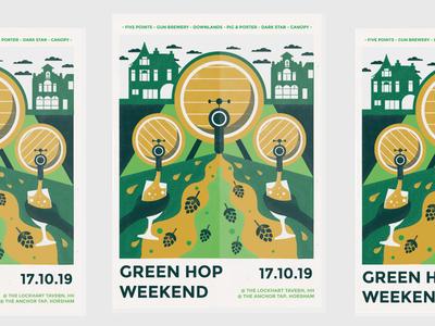 Green Hop dribbble line drawing festivalposter editorial beer posterart posterdesign poster design brewery beerfestival graphic design illustration