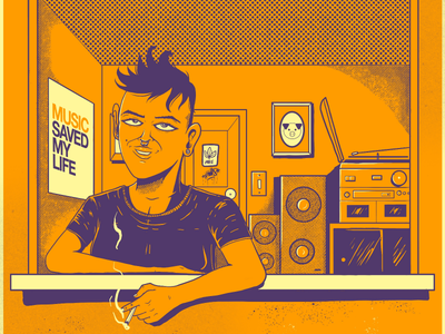 Prédio alaranjado brazil room playlist orange music spotify design illustrator illustration