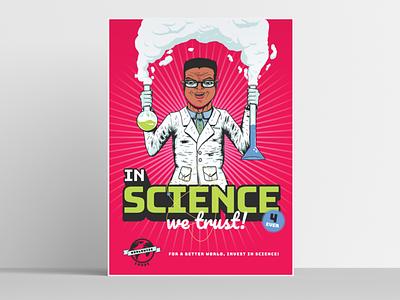 In science we trust adobe illustrator illustration amplifier poster worldwide wetrust science