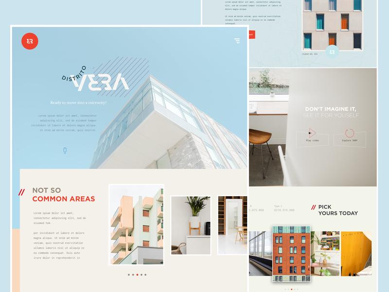 Distrito Vera modern concept pastel onepage project building architecture