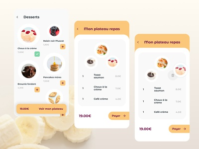 Meal tray delivery app concept checkout page concept yellow white food menu meal delivery meal playful ux ui app design