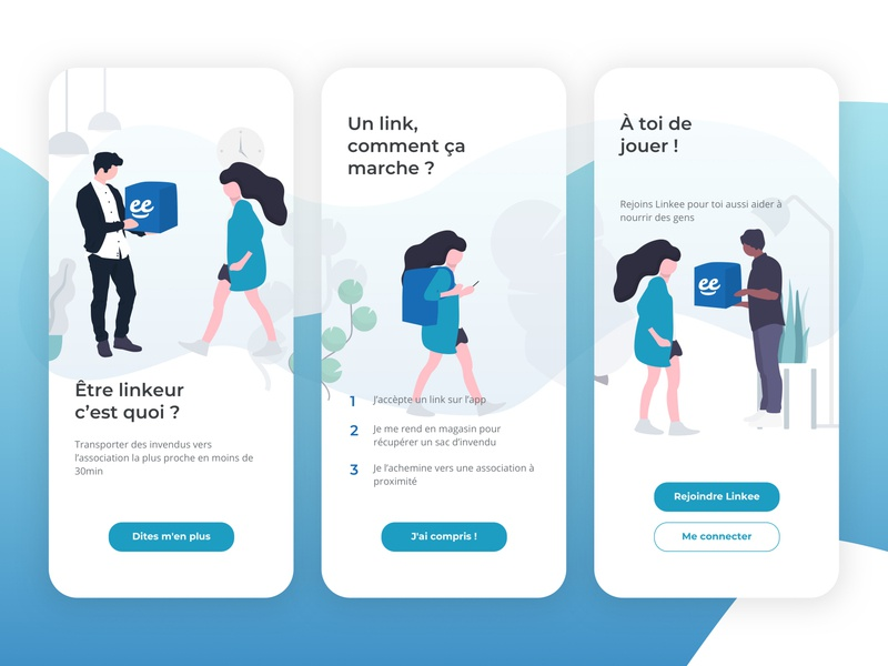 Onboarding for Linkee app mobile app design mobile association giving people flat illustration flat onboarding ui explanation playful onboarding screen steps blue minimal app ux ui design illustration onboarding