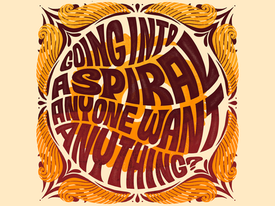 Going Into A Spiral Print psychedelic hand lettering typogaphy type art handlettering