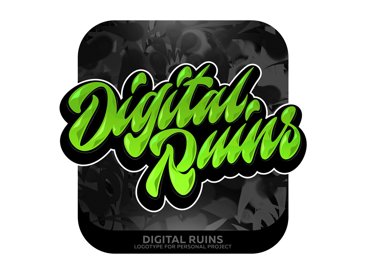 Digital Ruins Lettering graffiti illustrator branding typography design леттеринг каллиграфия vector logotype logo lettering illustration calligraphy