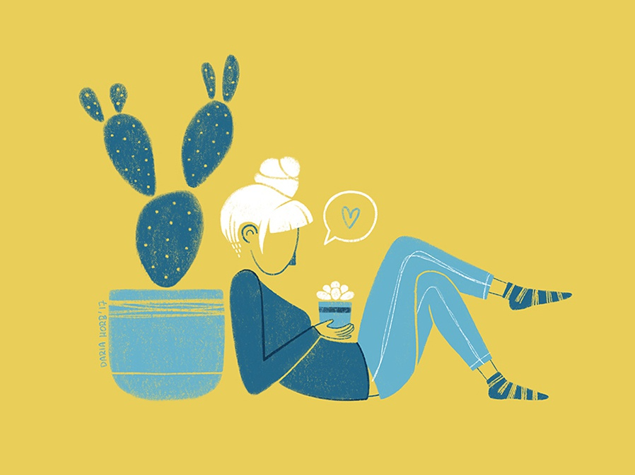 Cactus freelance illustrator digital drawing blue and yellow plants minimalistic minimalist simple illustration digital illustration digital art artist illustrations illustration art illustration illustrator cactus