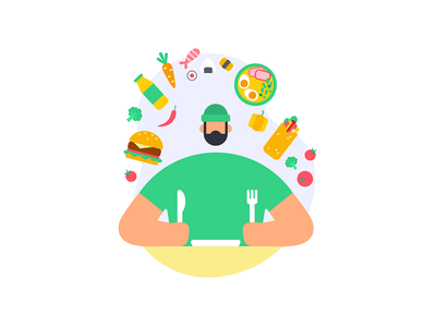 Gimme all the food! food delivery app food delivery food app vector illustration character design character foodie eater food product illustration minimalistic simple illustration digital illustration illustration