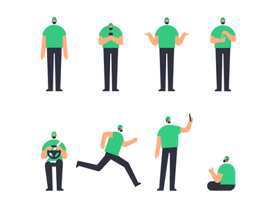 Bolt character design illustrator ride sharing app ridesharing brand style brand illustration characterdesign poses vector illustration illustration minimalistic character digital illustration character design