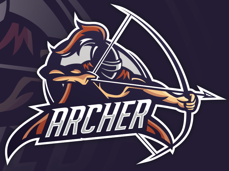 archer with a helmet mascot for esports