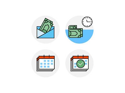 Financial plan palnning calendar money financial dashboard financial icon set withdrawal planning icons flat vector icon icon set financial financial plan