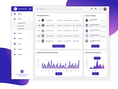 Admin Dashboard for Virtual Doctor Appointment for Mental Health virtual doctor revenue appointment chart graphic design doctors gradient purple graphy data data visulization health admin board admin dashboard doctor appointment clincs