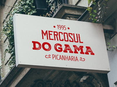 Mercosul do Gama Sign visual identity front faced designer salvador steakhouse brazil sign typography logo design branding
