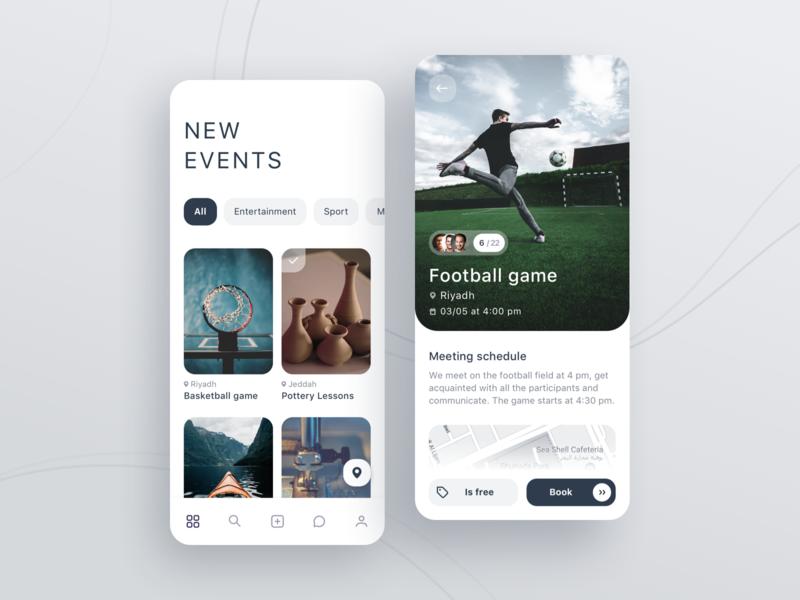 Events gray events ios mobile app ux ui design