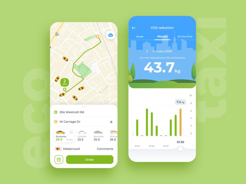 Eco Taxi taxi app taxi ecology eco green blue mobile ios app ux ui design