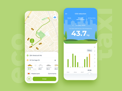 Eco Taxi taxi app taxi ecology eco green blue mobile ios app ux ui design