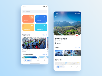 Skydiving app interface mobile ios ux app ui design