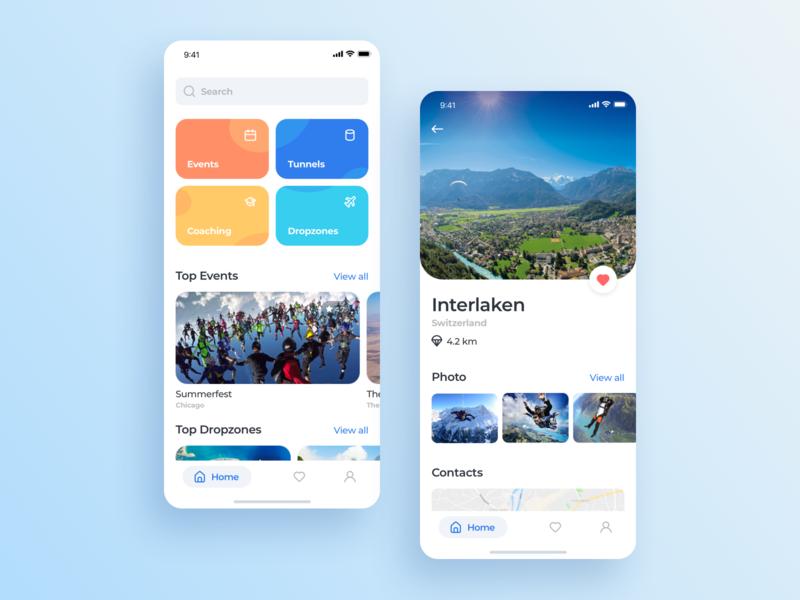 Skydiving app interface mobile ios ux app ui design