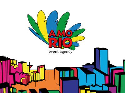Logo for event agency AMO RIO colorful color bright parrot rio amor riodejaneiro brasilia brasil logotypedesign logodesign logotype logo flat background vector